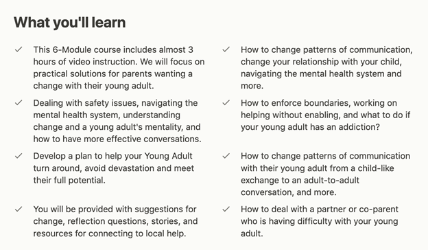 What you'll learn in this online course for Parenting Young Adults and Adult Children